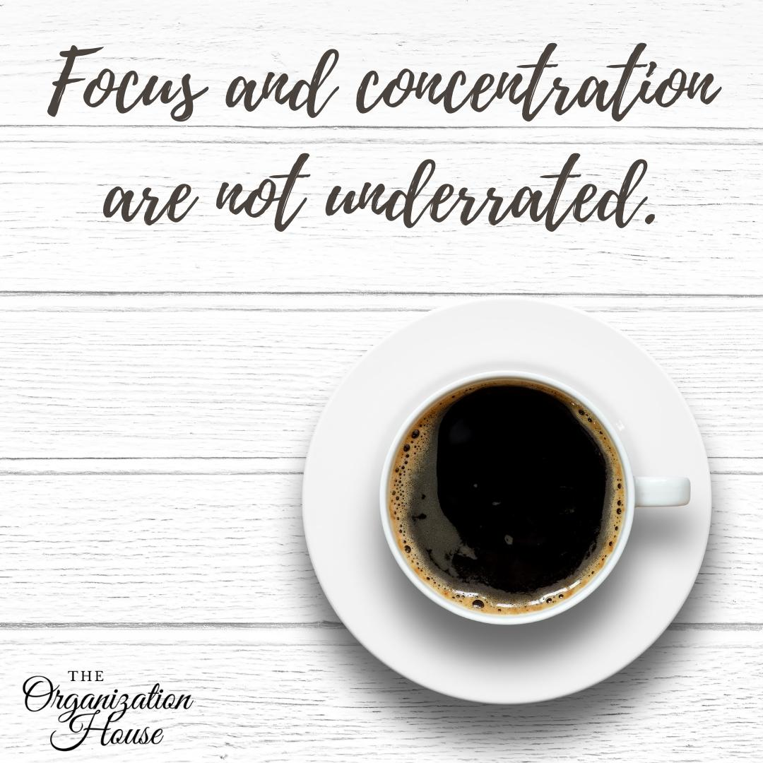 Focus and concentration are not underrated. - TheOrganizationHouse.com