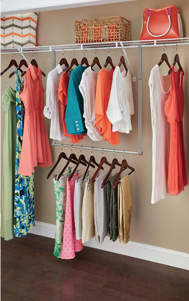 Closet hanging bar extenders make tons of extra space. - TheOrganizationHouse.com